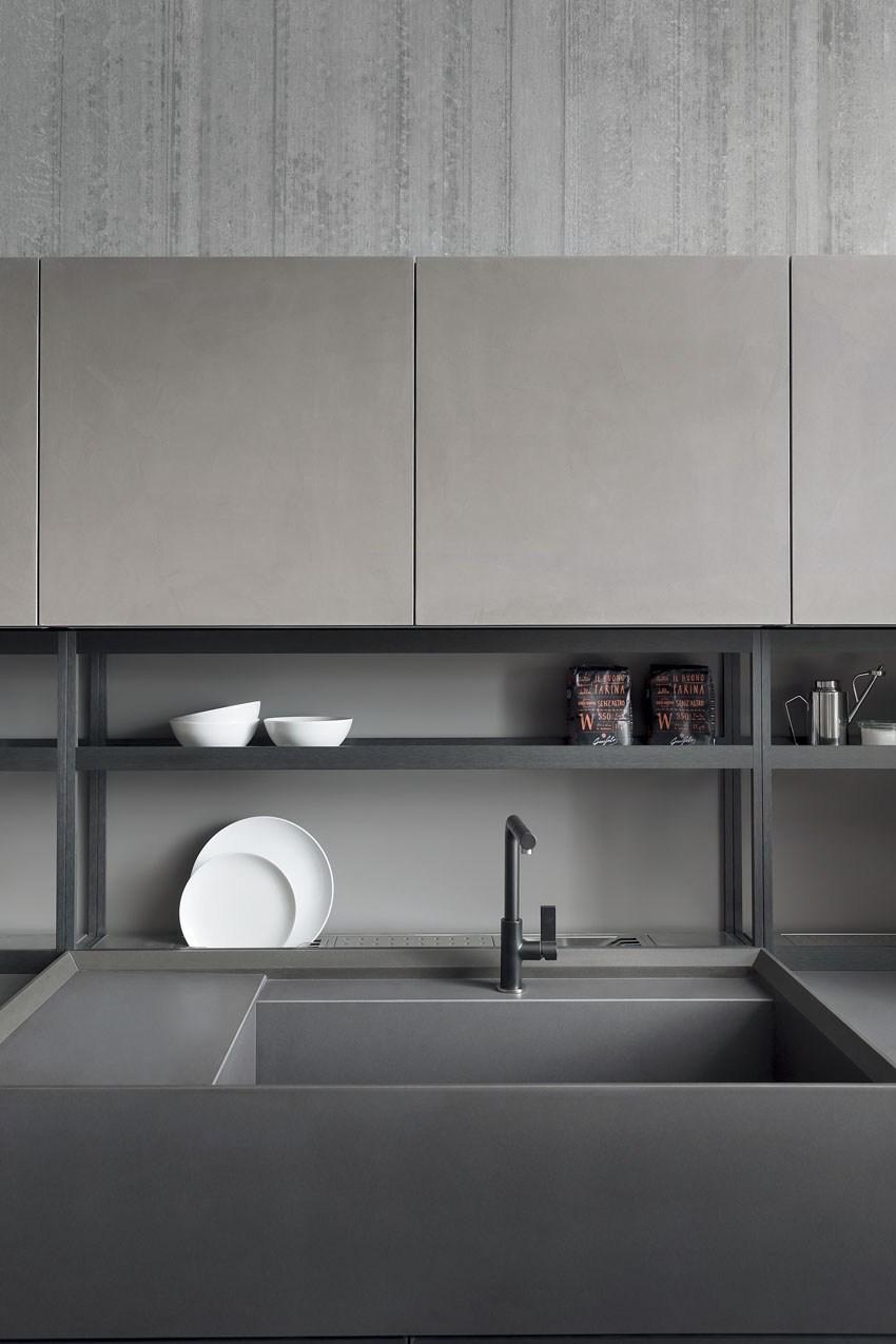 Мебель для кухни в минималистском стиле от дизайнера Стефано Каваццана - полки для посуды