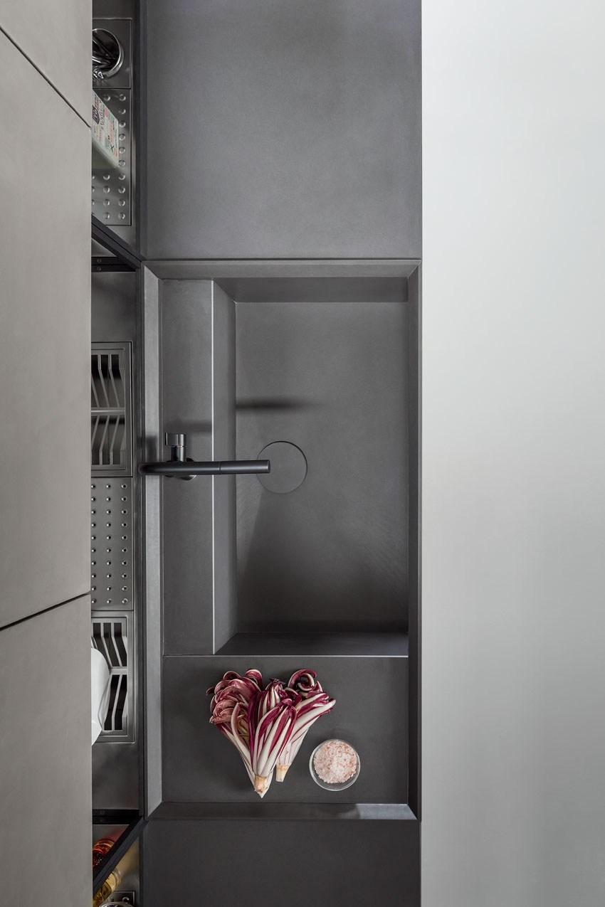 Мебель для кухни в минималистском стиле от дизайнера Стефано Каваццана - ещё больше серого интерьера