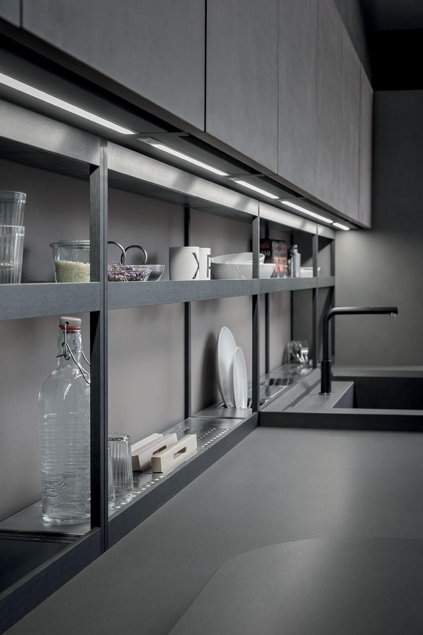 Мебель для кухни в минималистском стиле от дизайнера Стефано Каваццана - посуда хранится на полках