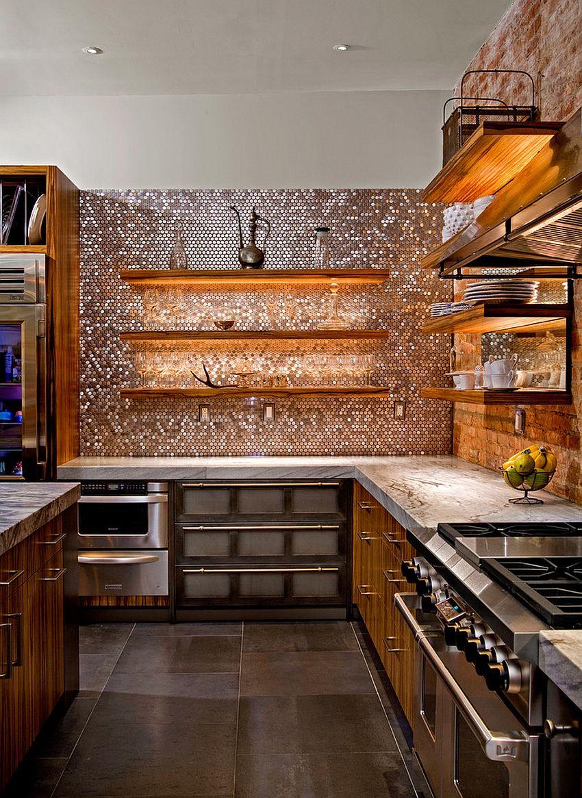 Металлические аксессуары для кухни: плитка-мозаика с металлическим блеском