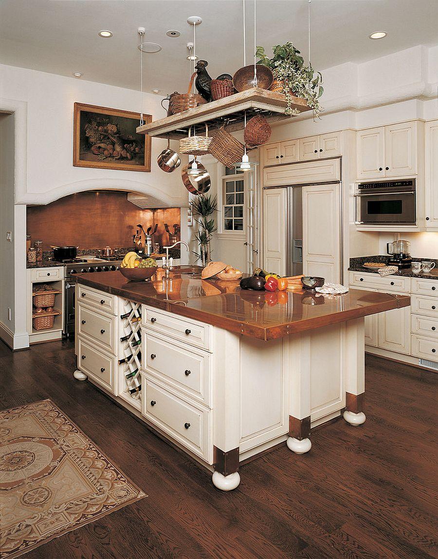 Металлические аксессуары для кухни: медного цвета столешница