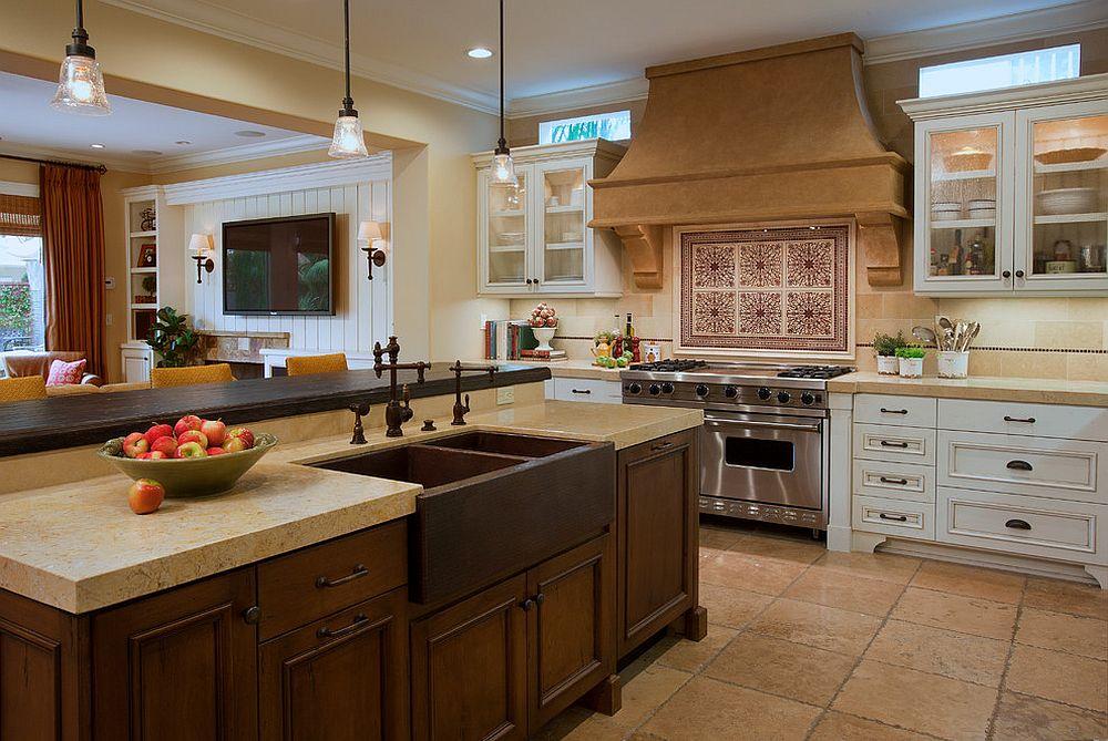 Металлические аксессуары для кухни: медная раковина