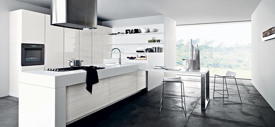 Фото кухни в стиле минимализм: элегантный белоснежный дизайн интерьера в скандинавских традициях