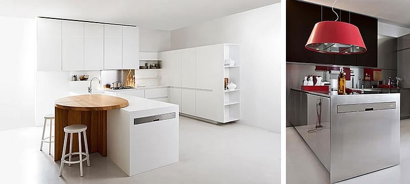 Фотоколлаж: яркие акценты в минималистском интерьере кухни