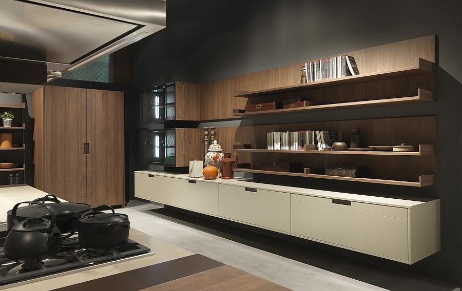 Минималистский дизайн кухни Arts & Crafts от Pedini из тёмного дерева
