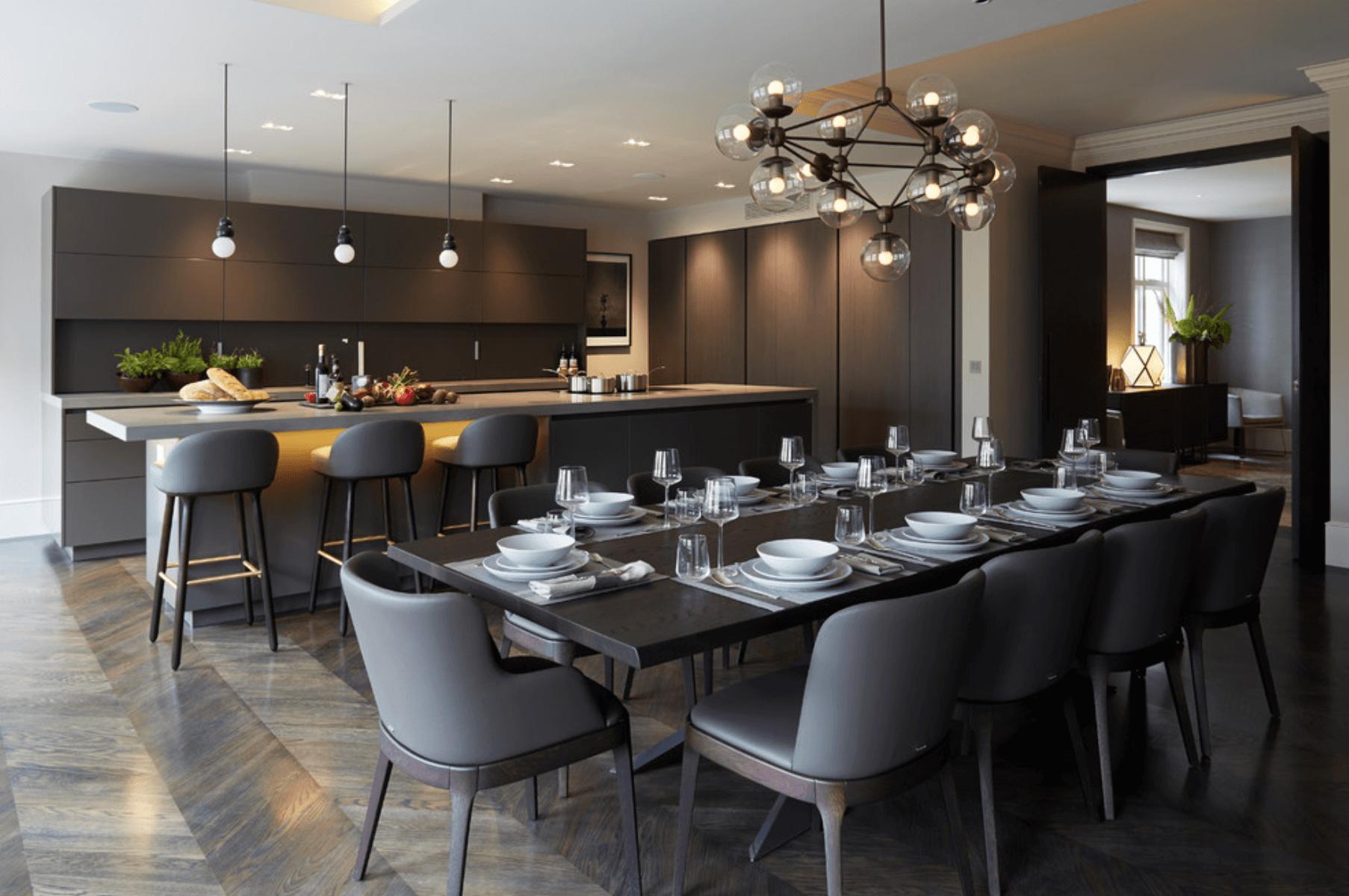Дизайн кухни в оттенках серого цвета. Фото 2