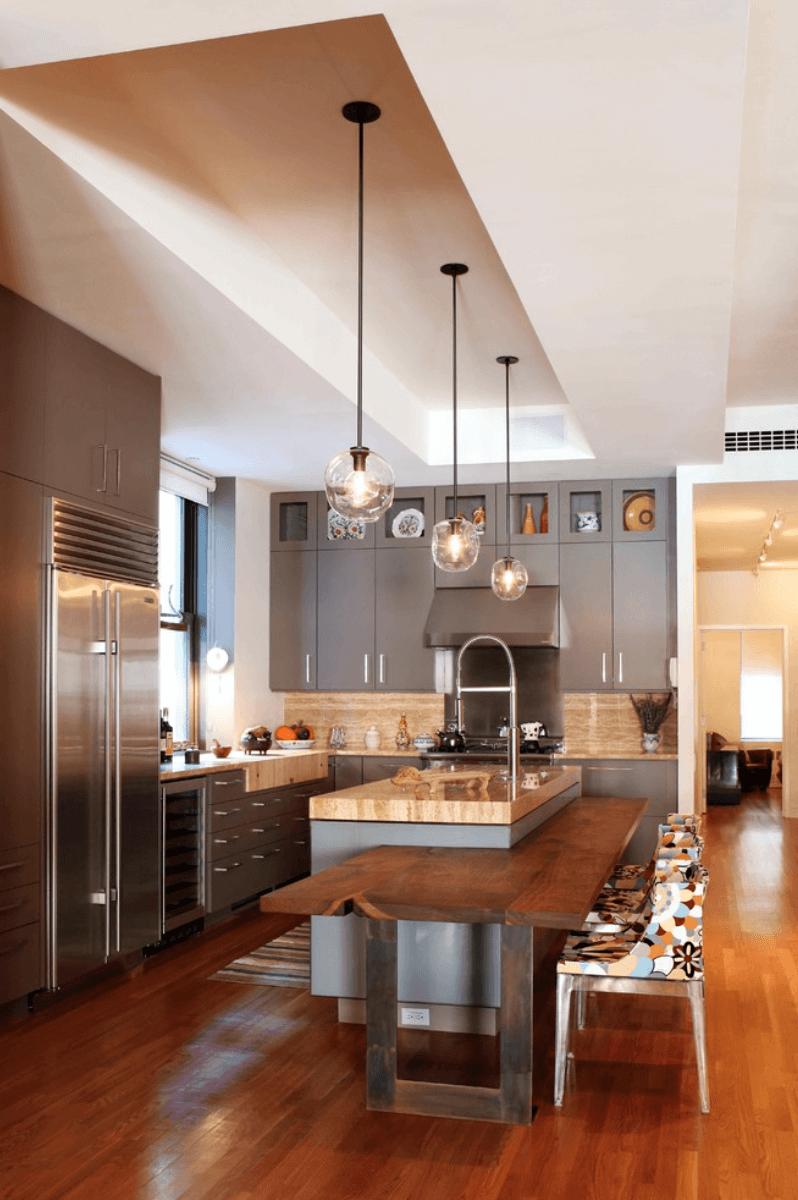Дизайн кухни в оттенках серого цвета. Фото 3