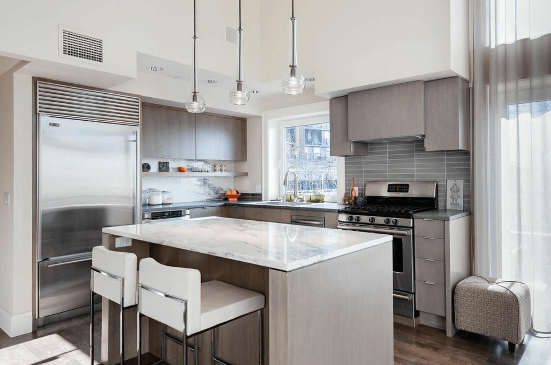 Дизайн кухни в оттенках серого цвета. Фото 7