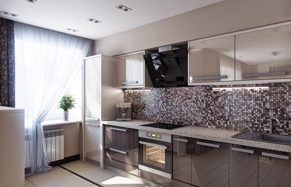 Стильный кухонный фартук оформленный сиреневой мозаикой