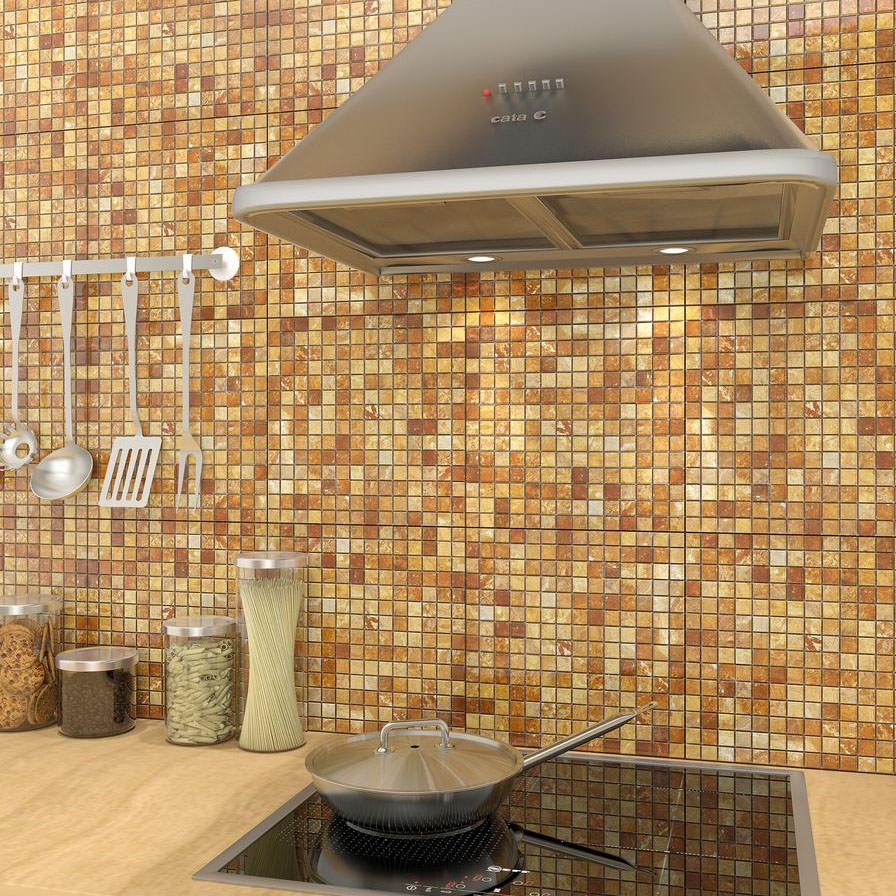 Шикарная рыже-коричневая мозаика в интерьере кухни
