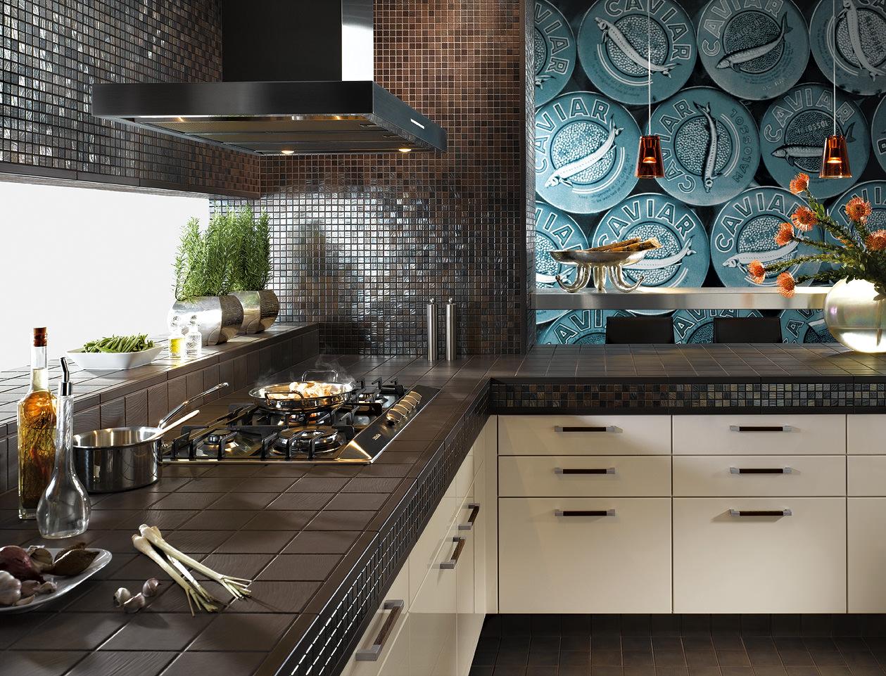Мозаика шоколадного оттенка в интерьере современной кухни
