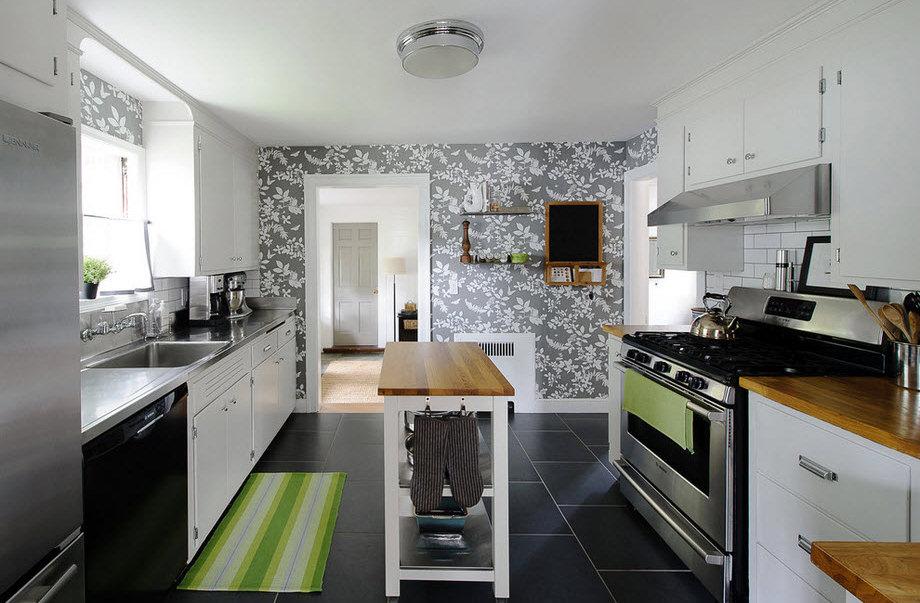 Креативные фотообои в современном интерьере кухни