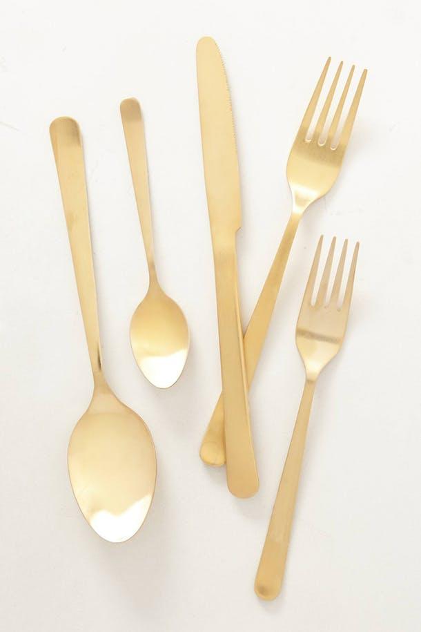 Набор столовых приборов в цвете жёлтое золото