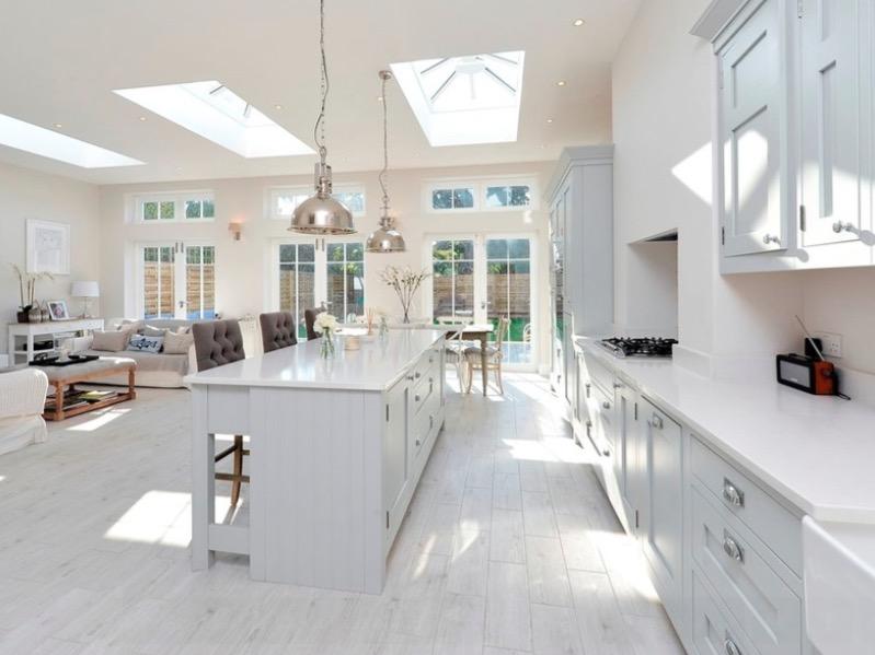 Белый ламинат белой кухни