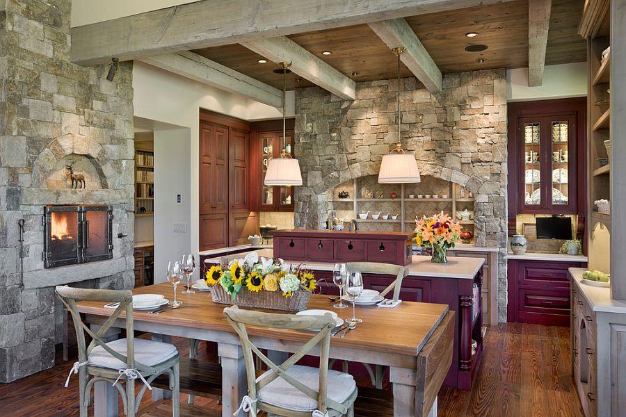 кухне отделка фото на камнем