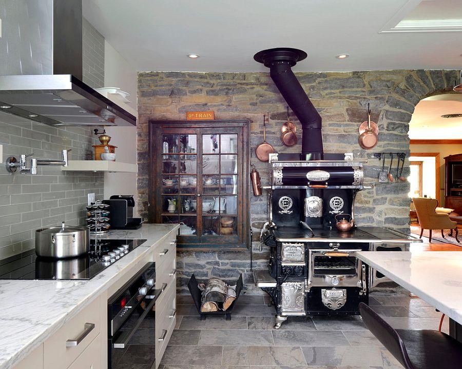 Современная печка в интерьере кухни