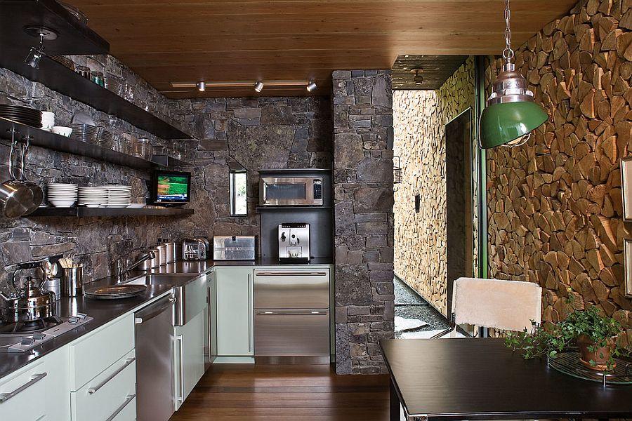 Отделка стены деревом в интерьере кухни