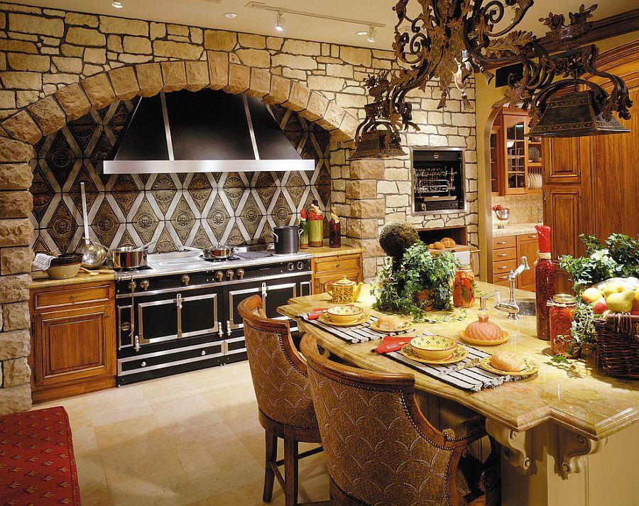 Каменная арка в интерьере кухни