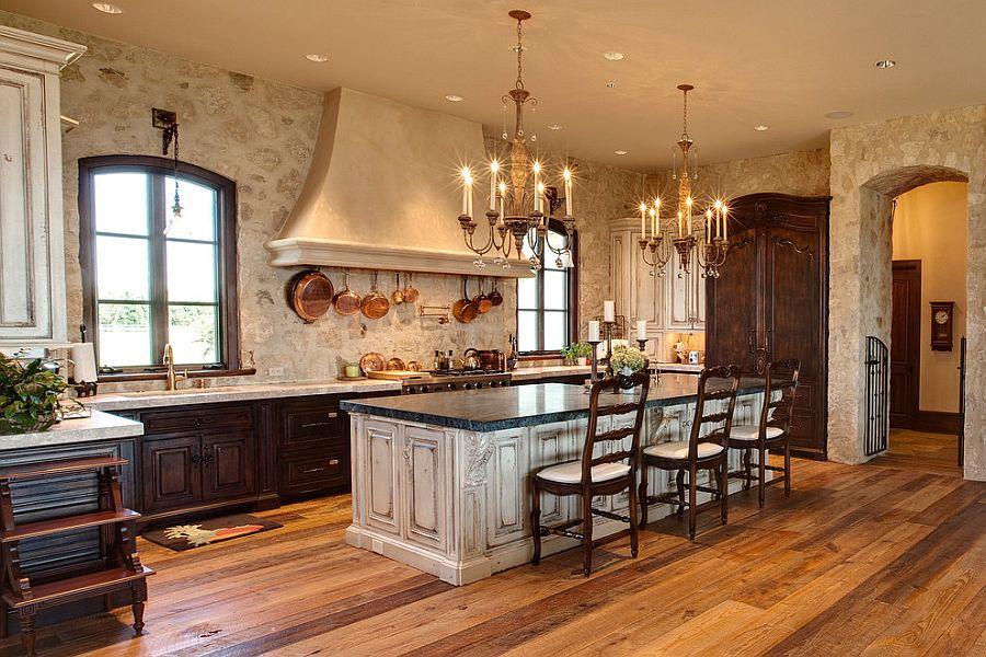 Винтажный кухонный остров белого цвета в интерьере кухни