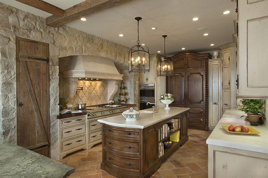 Светлый и тёмный кухонный гарнитур из дерева в интерьере