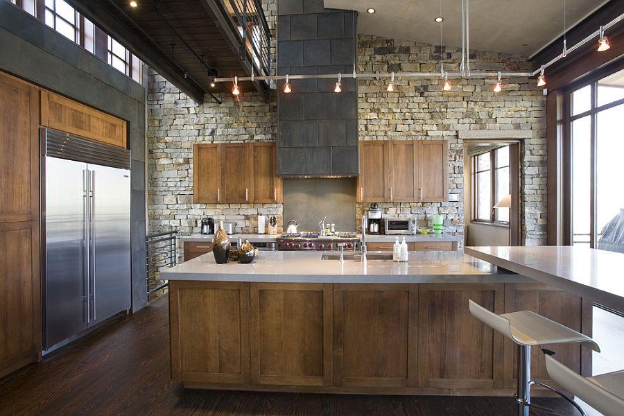 Современный вариант интерьера кухни в стиле рустик