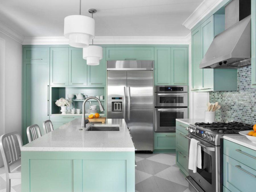 Кухонные шкафчики. Дизайн в различных цветах и стилях: мятный цвет