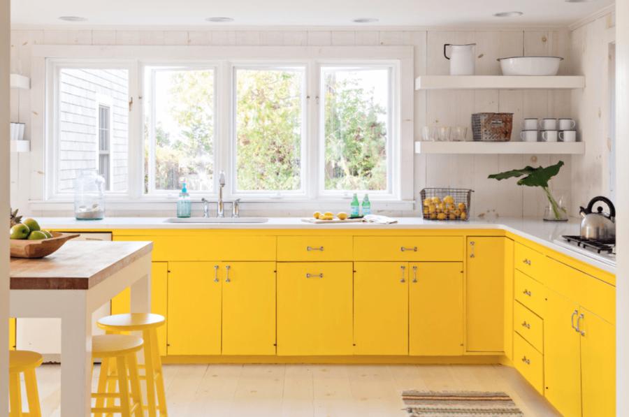 Кухонные шкафчики. Дизайн в различных цветах и стилях: жёлтый цвет