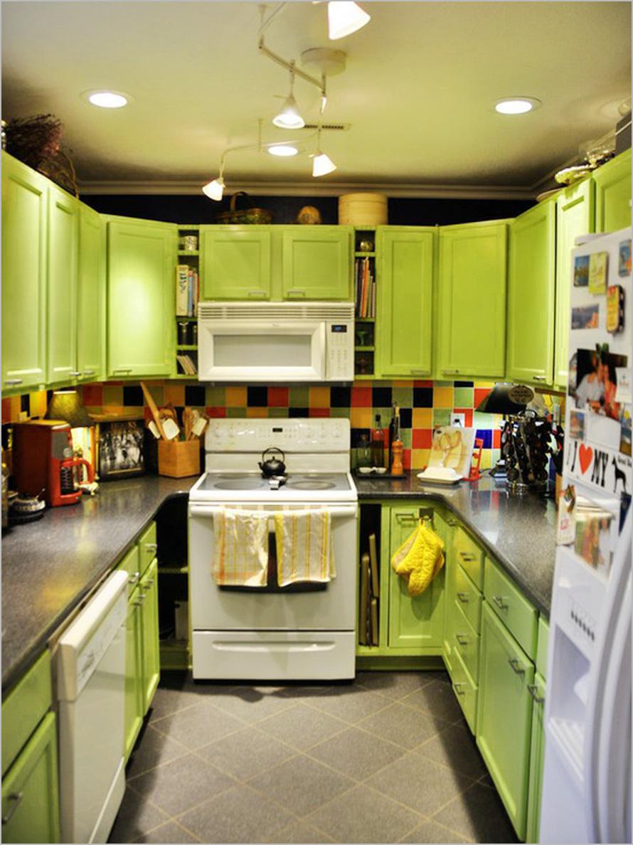 Кухонные шкафчики. Дизайн в различных цветах и стилях: лаймовый цвет