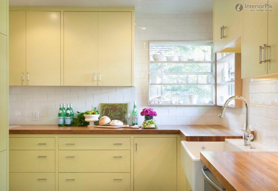 Кухонные шкафчики. Дизайн в различных цветах и стилях: сливочный жёлтый