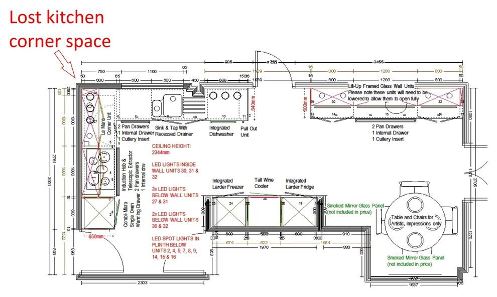 План кухни с неиспользованным угловым пространством