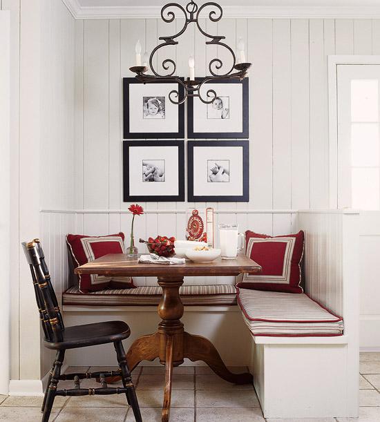 Обеденное место на кухне с эркером - уютный гарнитур. Фото 8