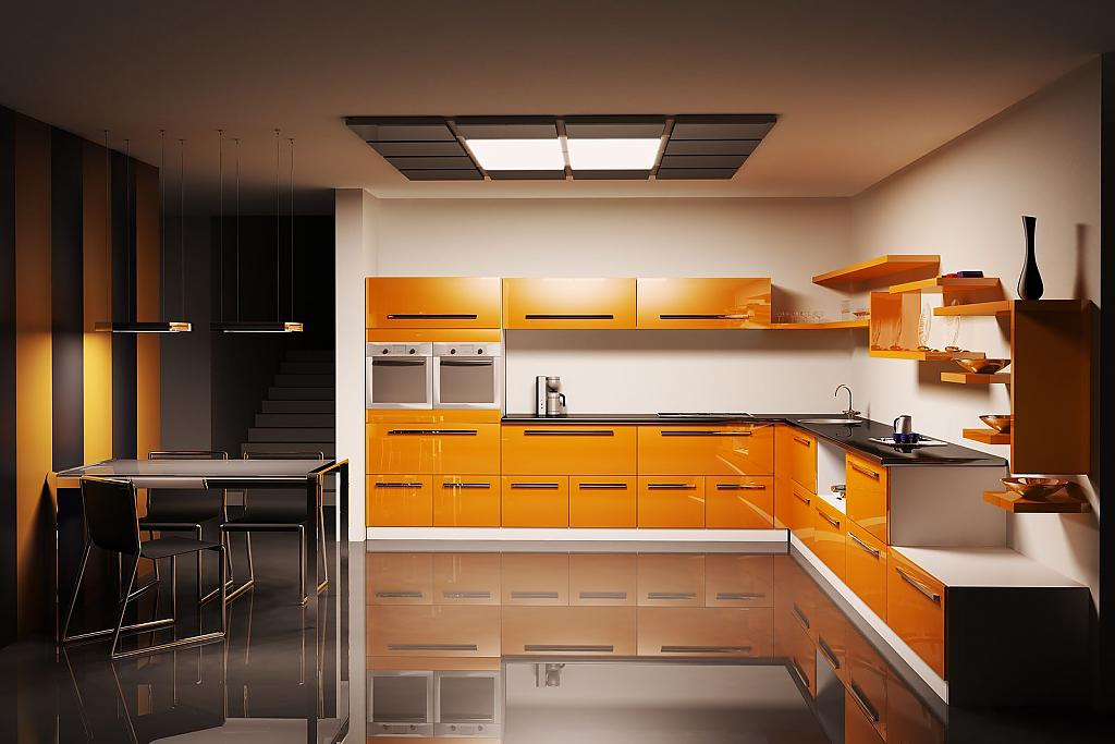 Стильный интерьер кухни в оранжевом цвете
