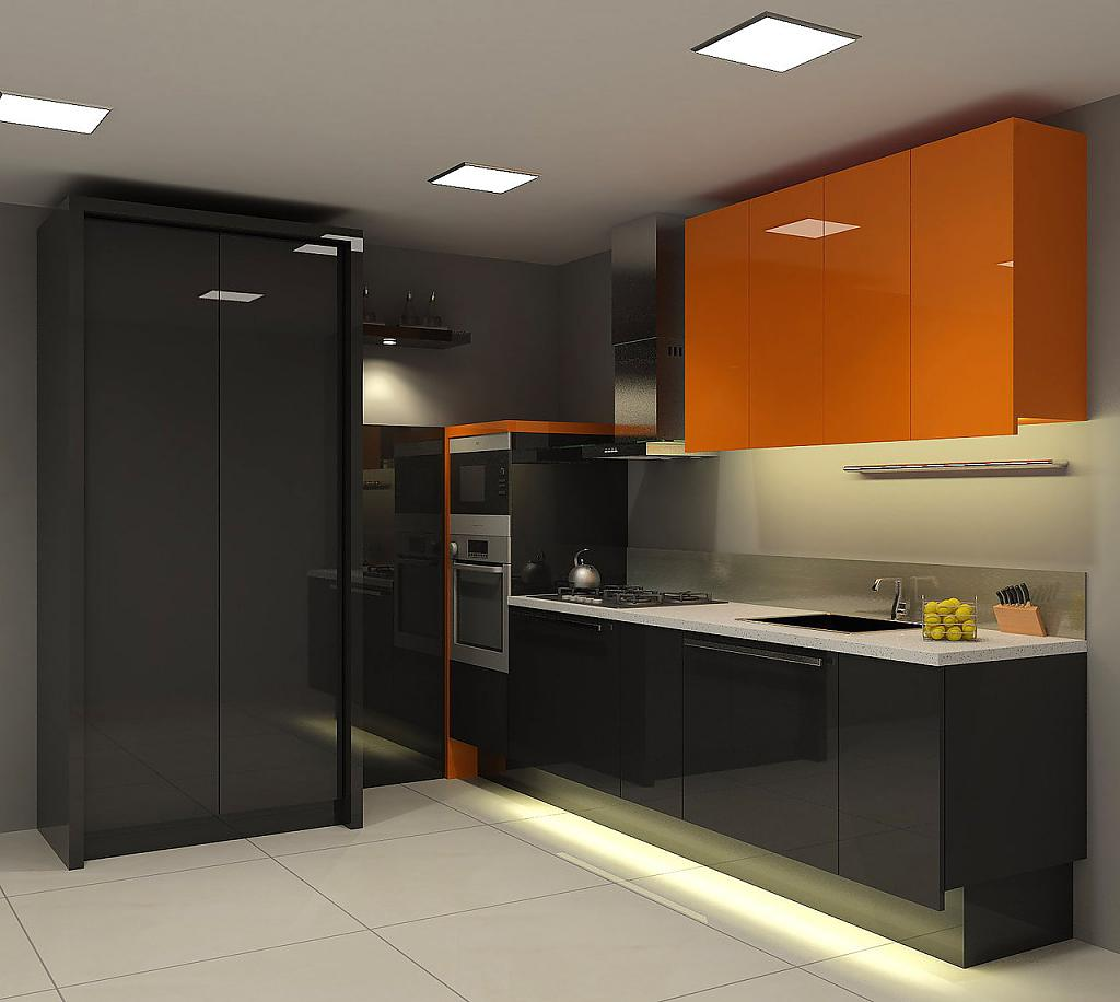 Стильный дизайн интерьера кухни в оранжевом цвете