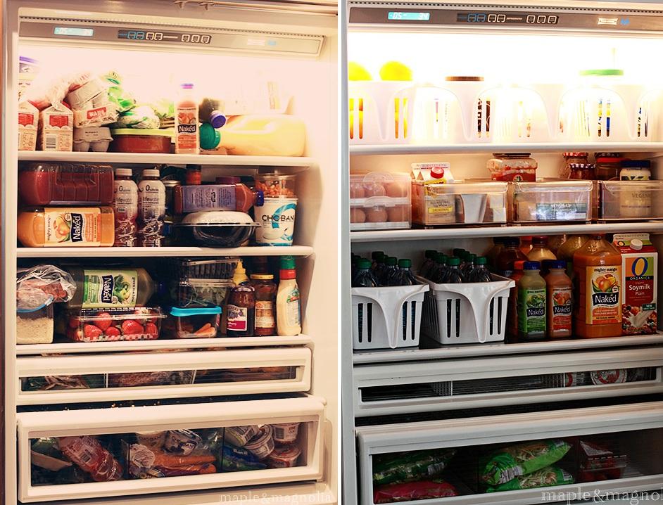 Компактно и аккуратно разложенные продукты на полках холодильника