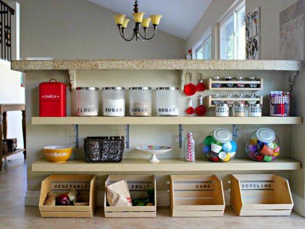 Идеи организации пространства на кухне – открытые полки