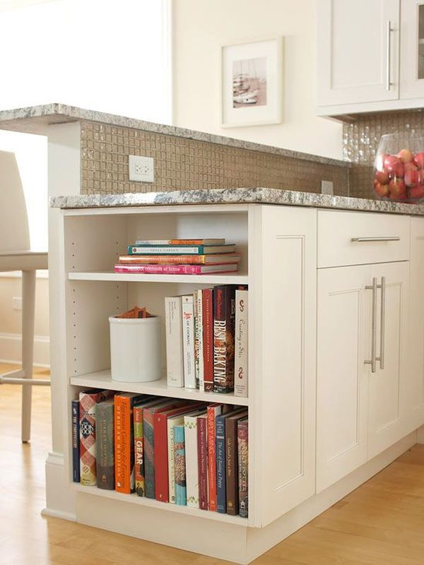 Отсек для хранения кулинарных книг и мелочей в кухонном столе
