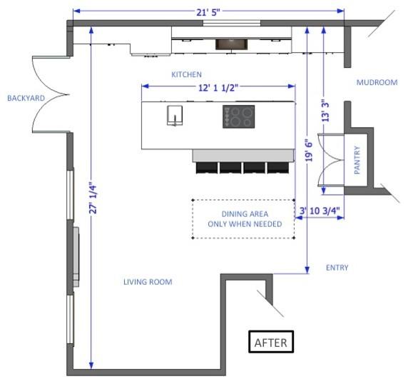 План интерьера кухни с оригинальным кухонным островом - Фото 2