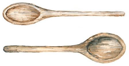 Деревенские деревянные ложки нарисованные акварелью