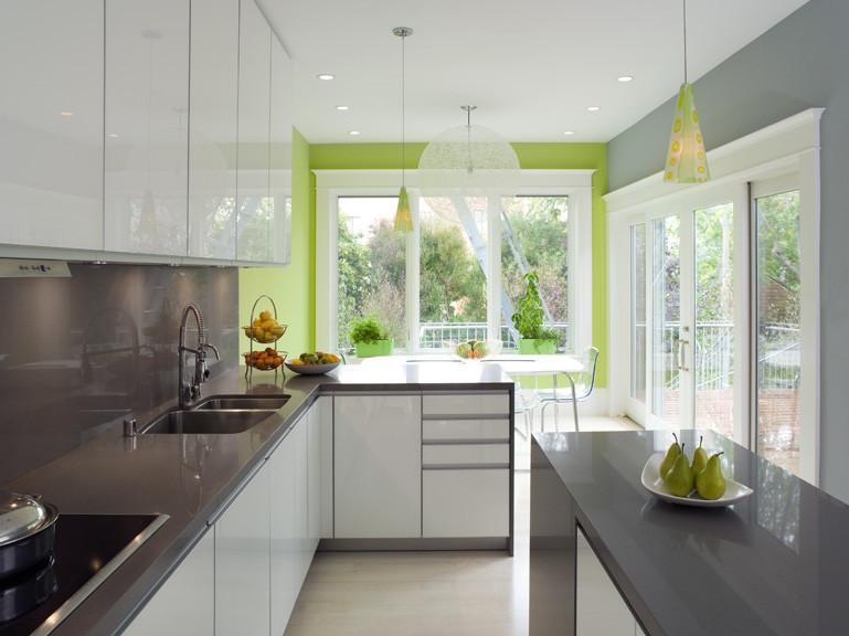 Классический чёрно-белый гарнитур на фоне яркой салатовой стены в интерьере кухни