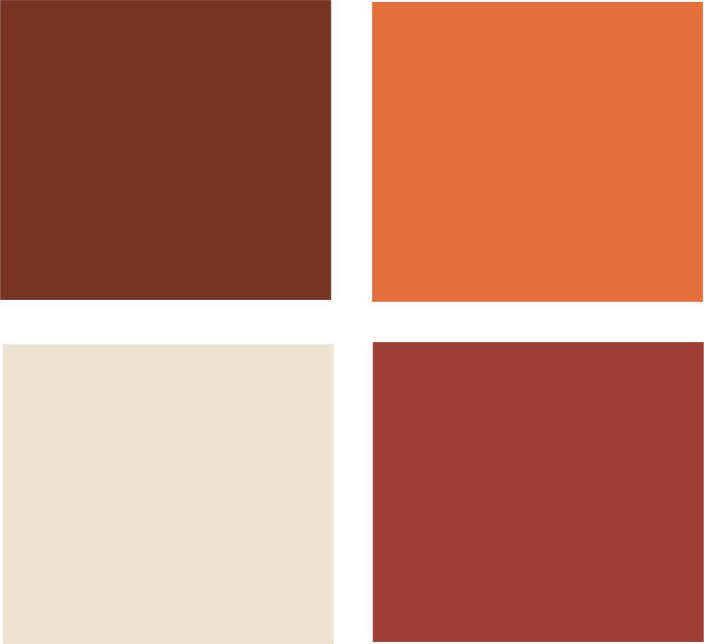 Палитра гармоничного сочетания ярких оттенков красного и апельсинового