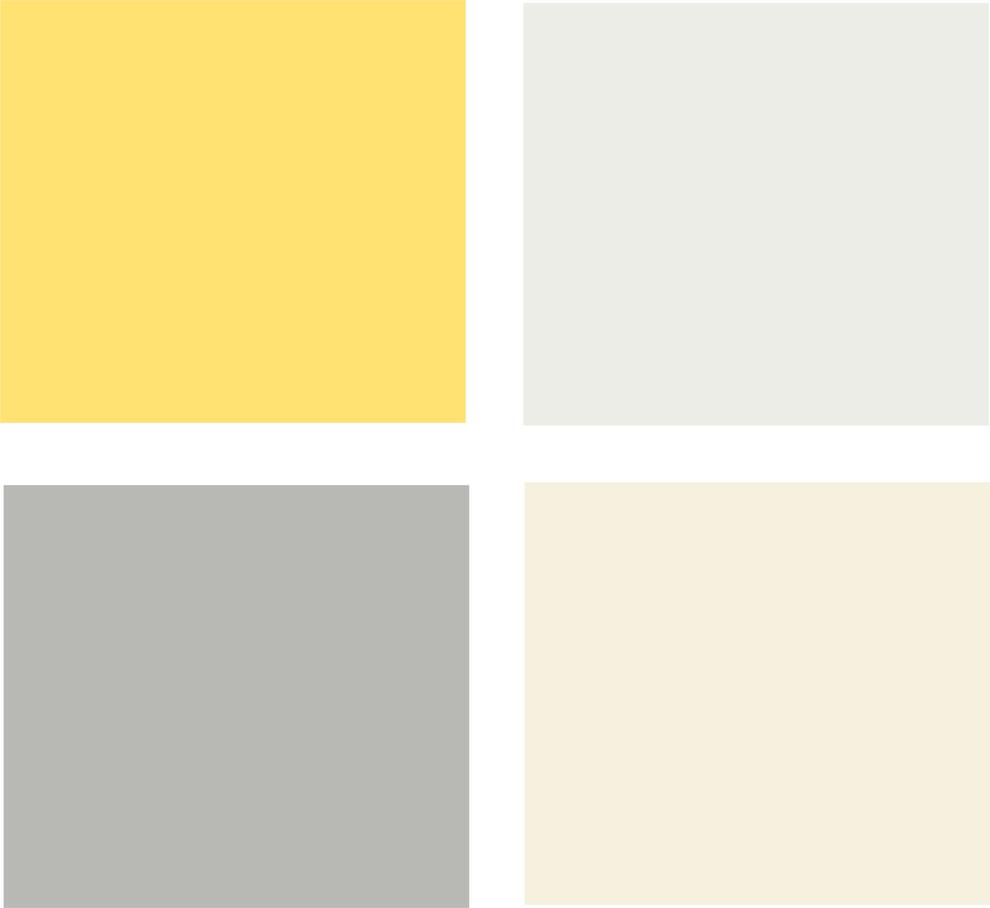 Палитра плавного перехода сочного жёлтого к светлой гамме