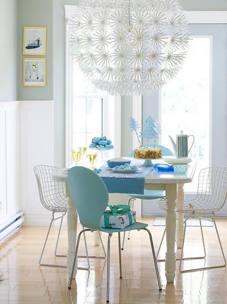 Лёгкая пластиковая мебель в столовой