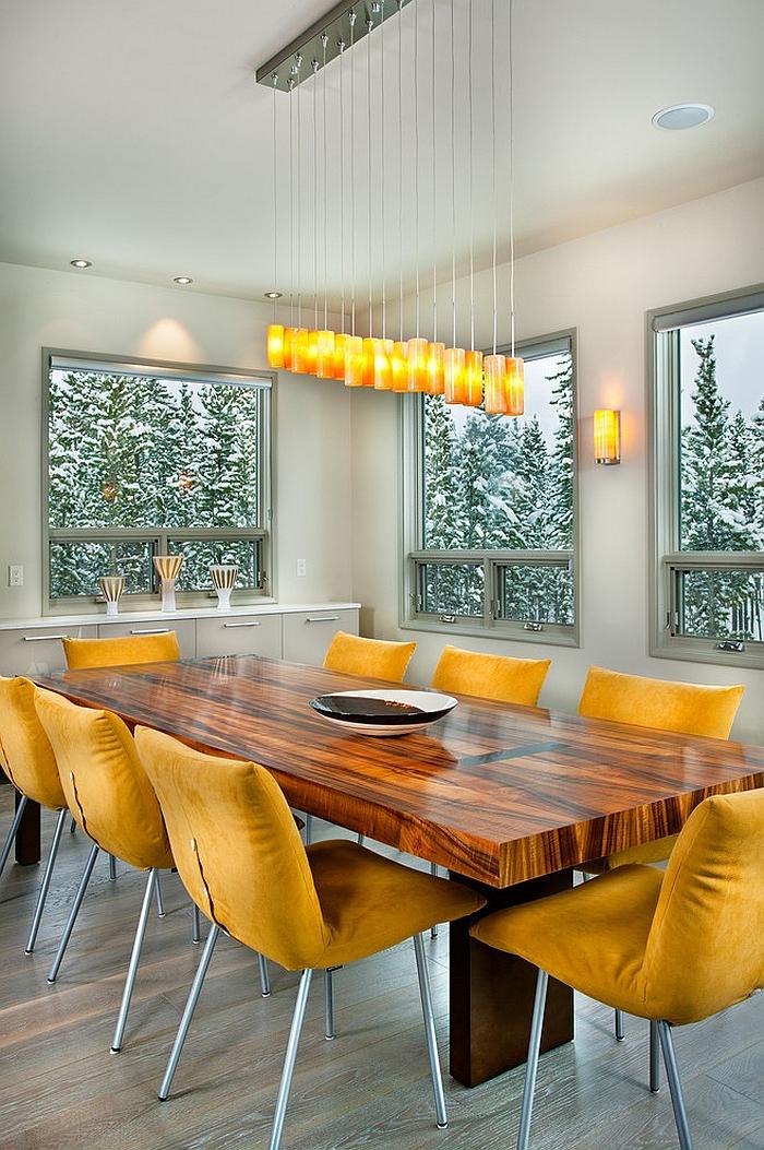 Игра цветов в современном дизайне столовой