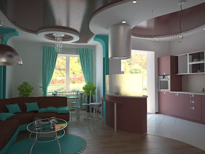 Интерьеры кухонь в зеленом цвете 188