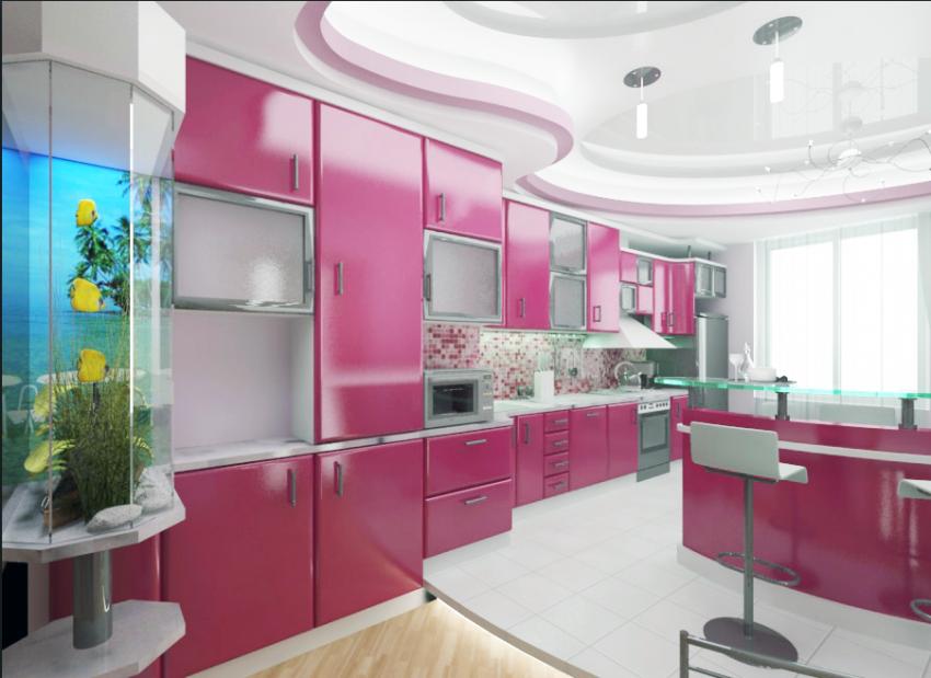 Фото дизайн кухни в розовых тонах