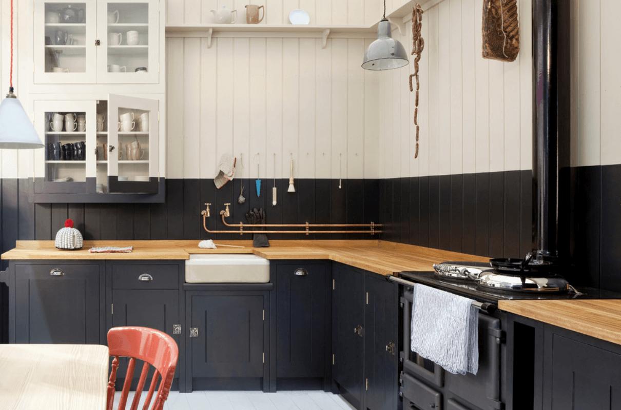 Черно-белый дизайн кухни простым способом покраски кухонных шкафов