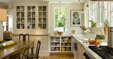 Оригинальный дизайн интерьера кухни в стиле кантри