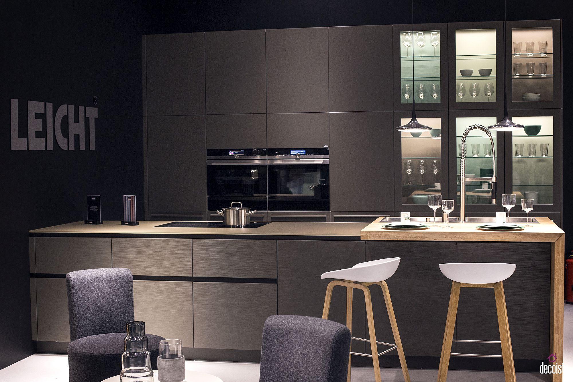 Стильный дизайн чёрно-серой кухни - фото 6