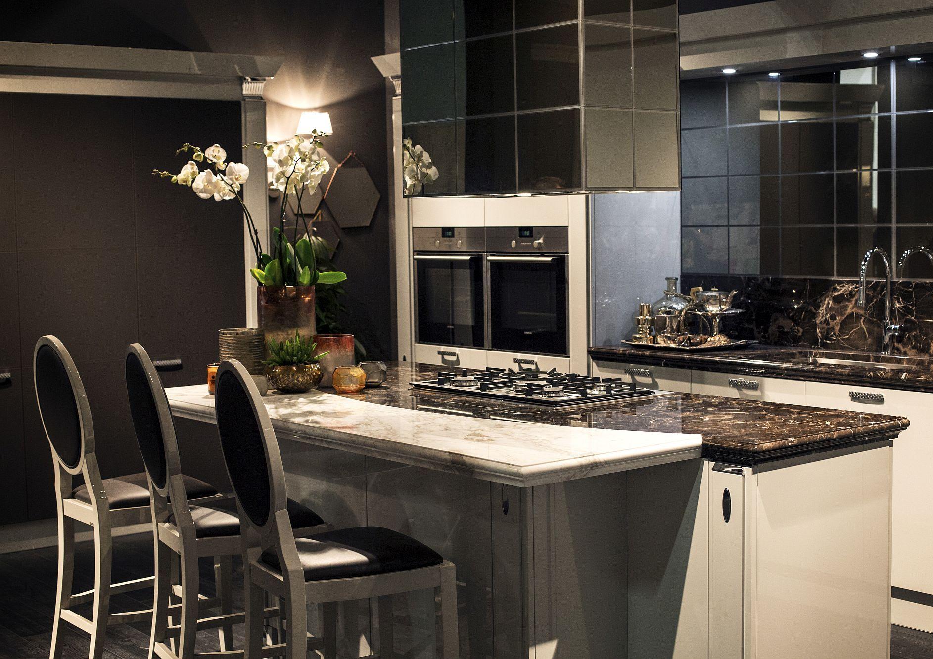 Стильный дизайн чёрно-серой кухни - фото 13