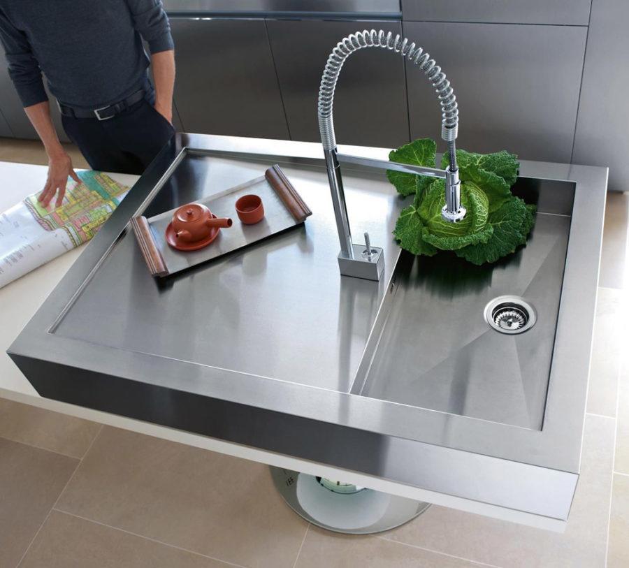 Оригинальный дизайн раковин для кухни - неглубокая раковина от Warendorf